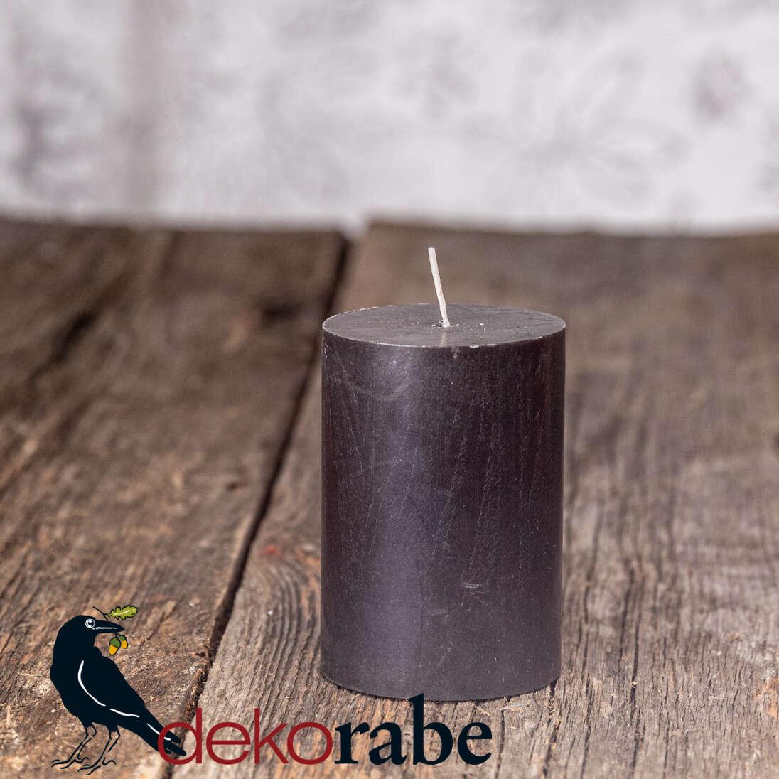 Cylinderkerze Silea Stearin schwarz 7,0 cm Ø, ca. 10 cm hoch