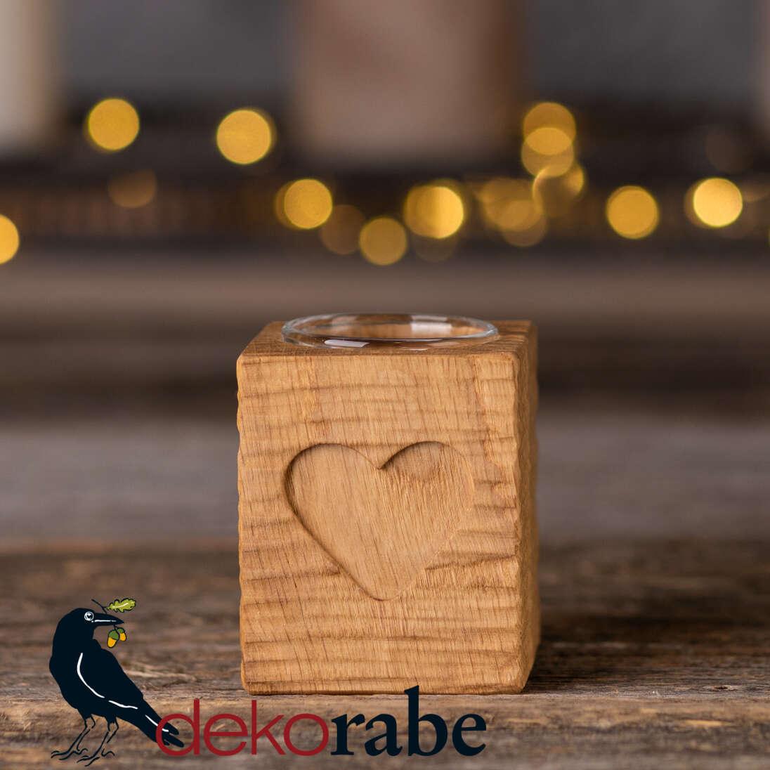 Kerzenhalter aus gerilltem Holz Eiche, mit Motiv, inkl. Glas