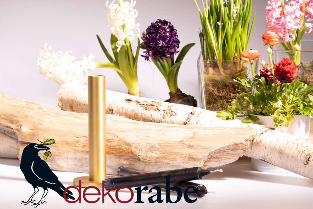 Kerzenhalter Messingoptik 19 cm hoch