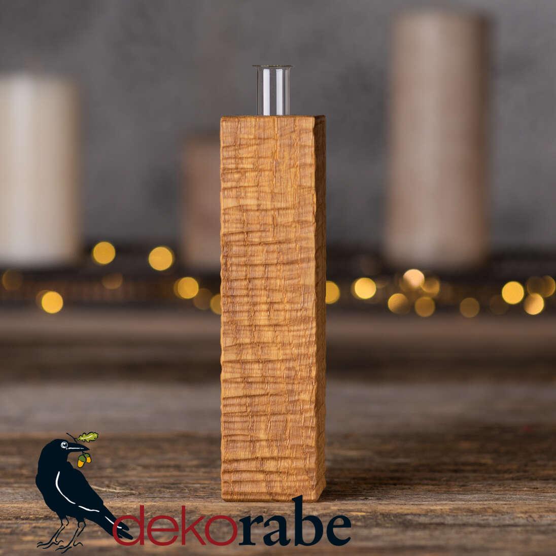 Vase aus gerilltem Holz Eiche, 18 cm, inkl. Glas