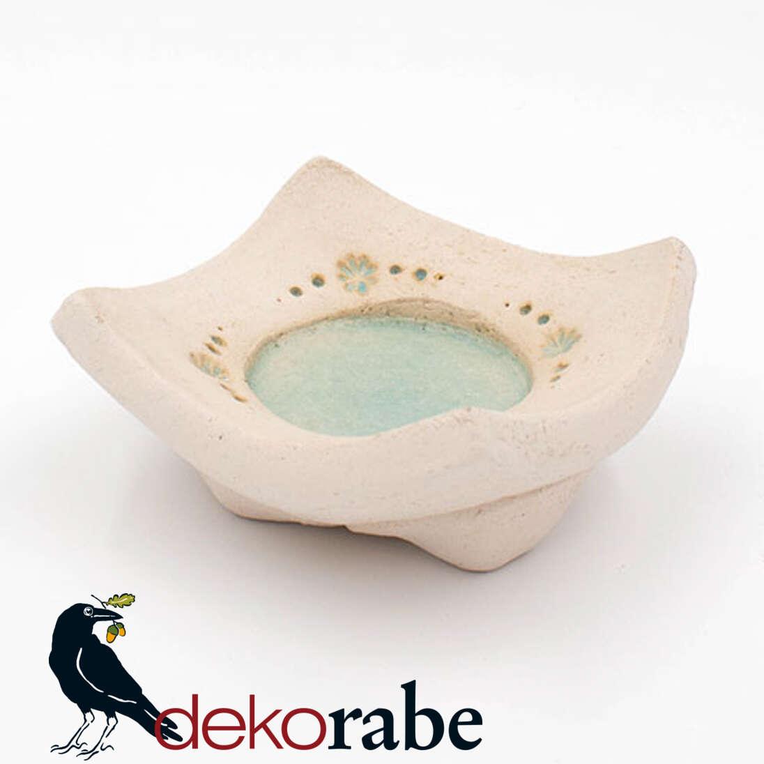 Kerzenuntersetzer Keramik eckig, Blume, natur-türkis
