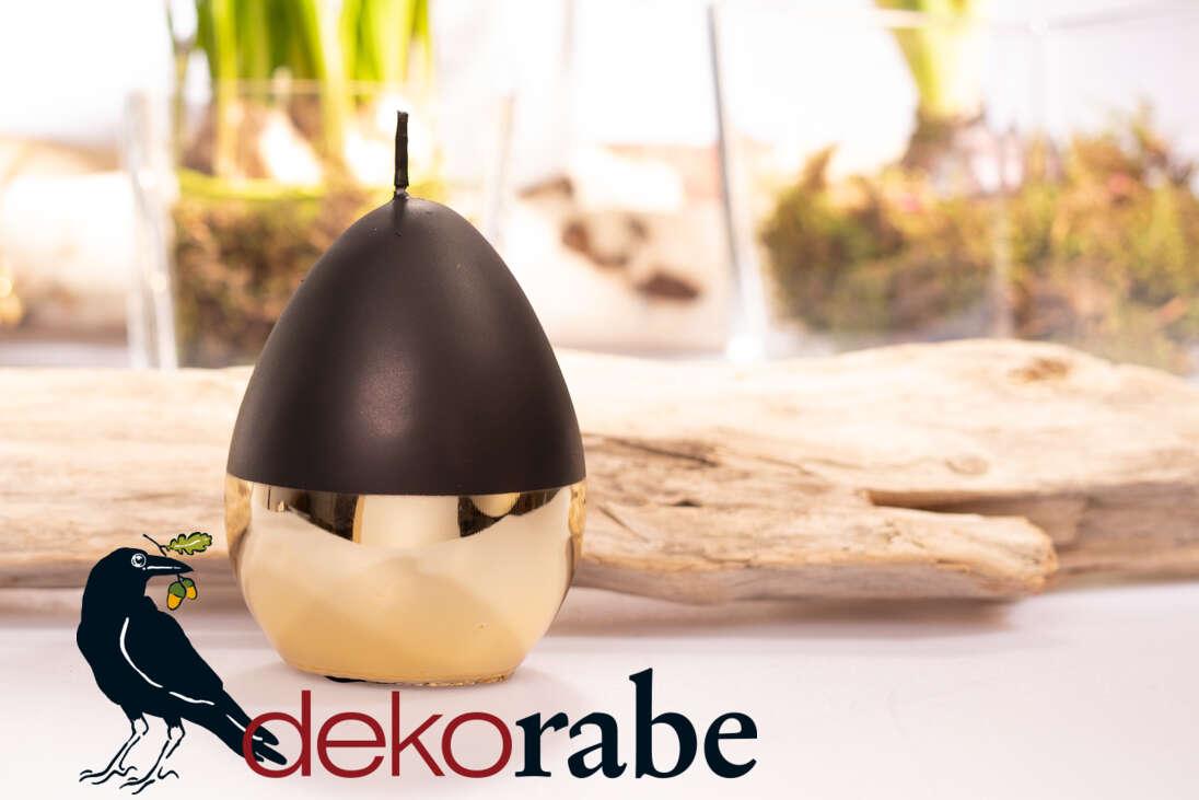 Eierkerze Zanetti schwarz/gold Ø 8 cm und 12 cm hoch