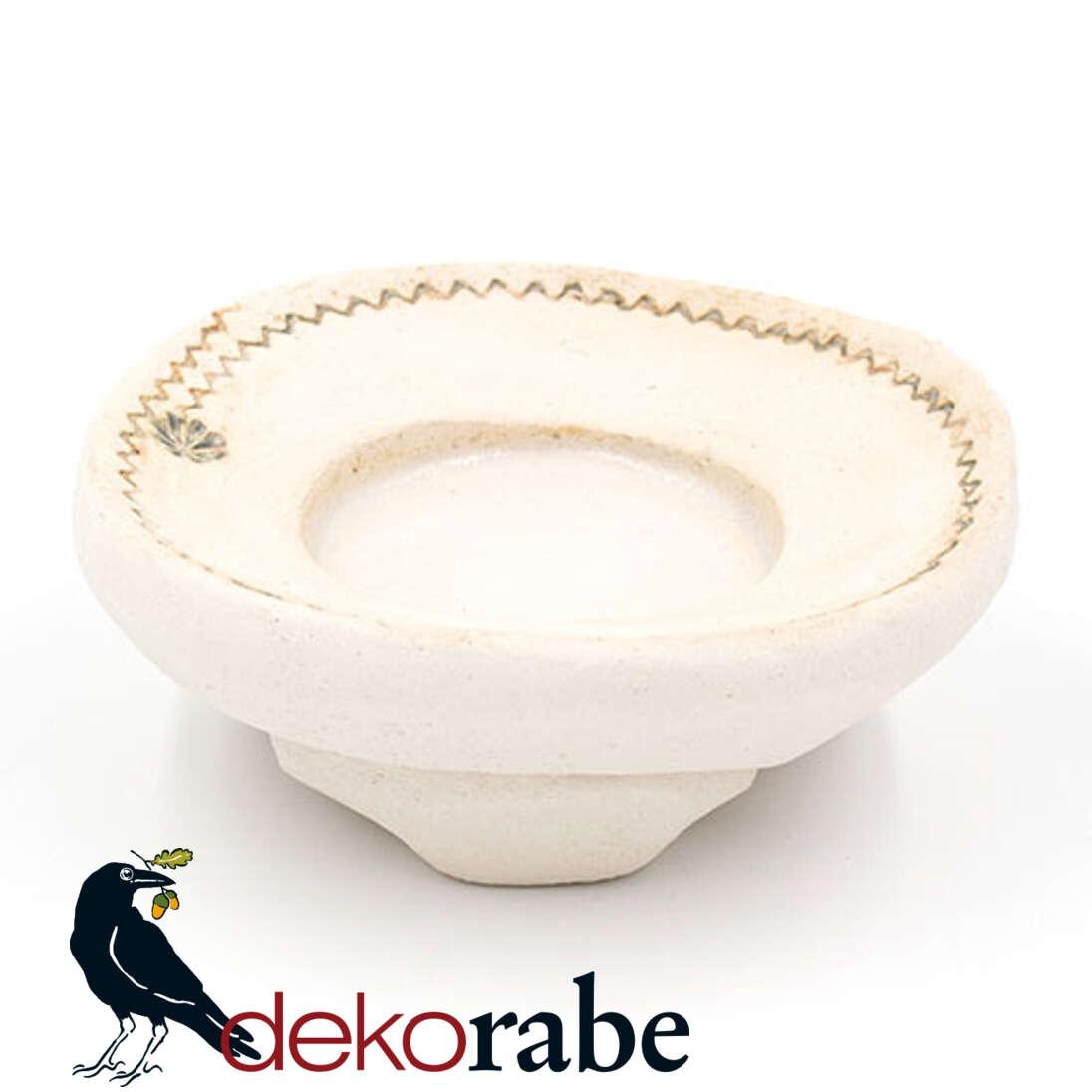 Kerzenuntersetzer Keramik rund, Zickzack, natur-weiß