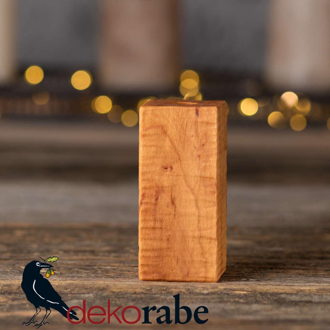 Vase aus gerilltem Holz Erle, 10 cm, inkl. Glas