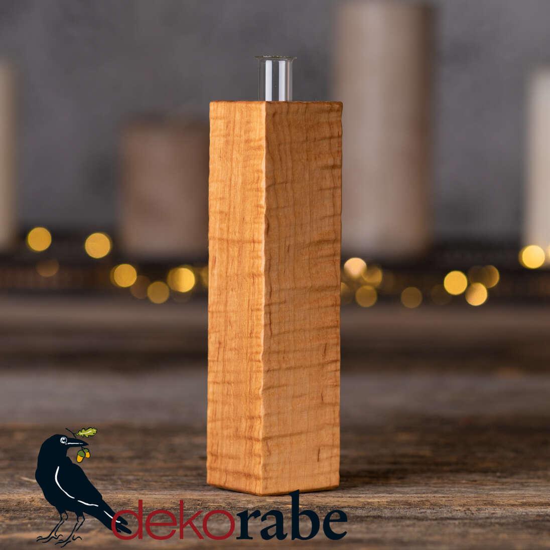 Vase aus gerilltem Holz Erle, 18 cm, inkl. Glas