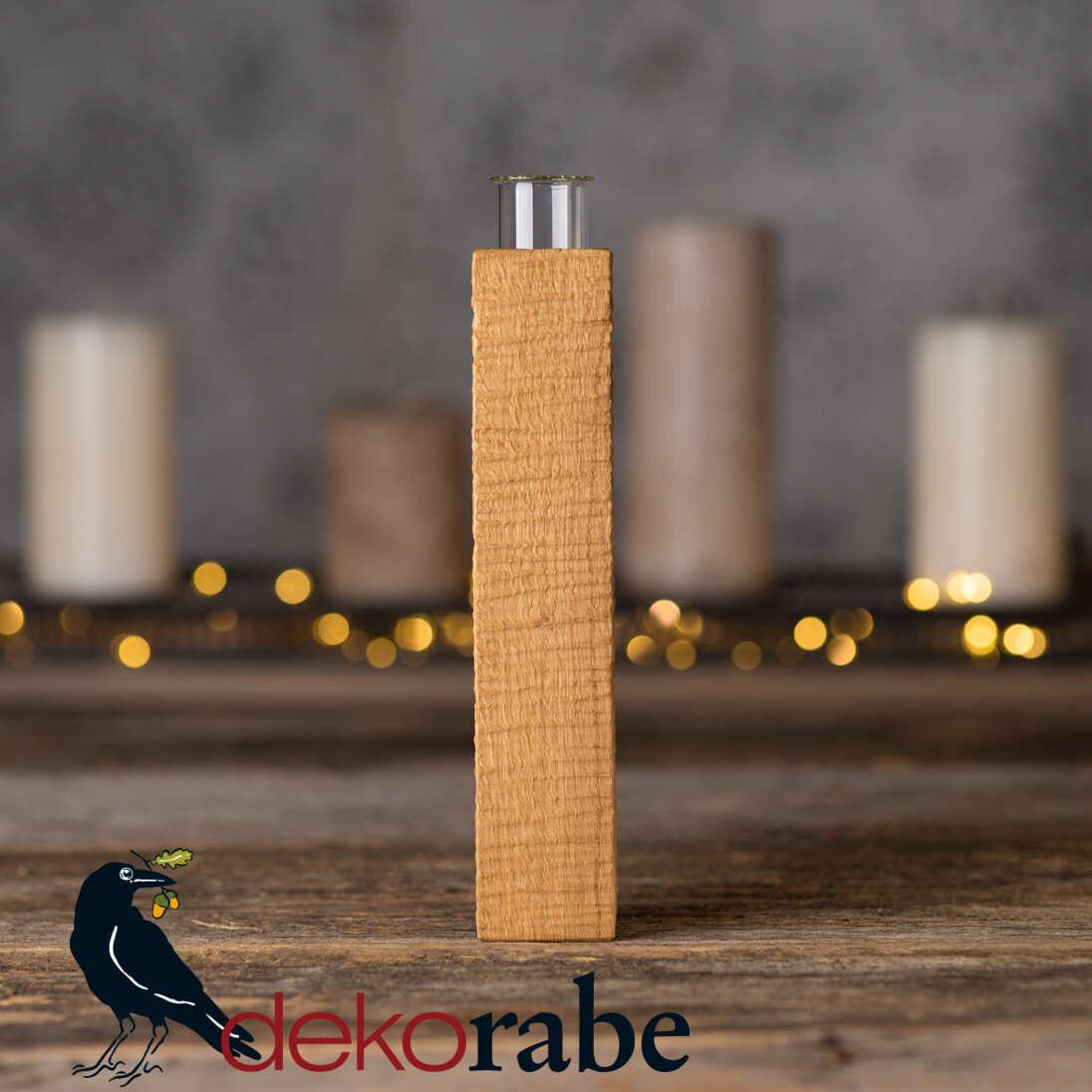 Vase aus gerilltem Holz Eiche, 22 cm, inkl. Glas