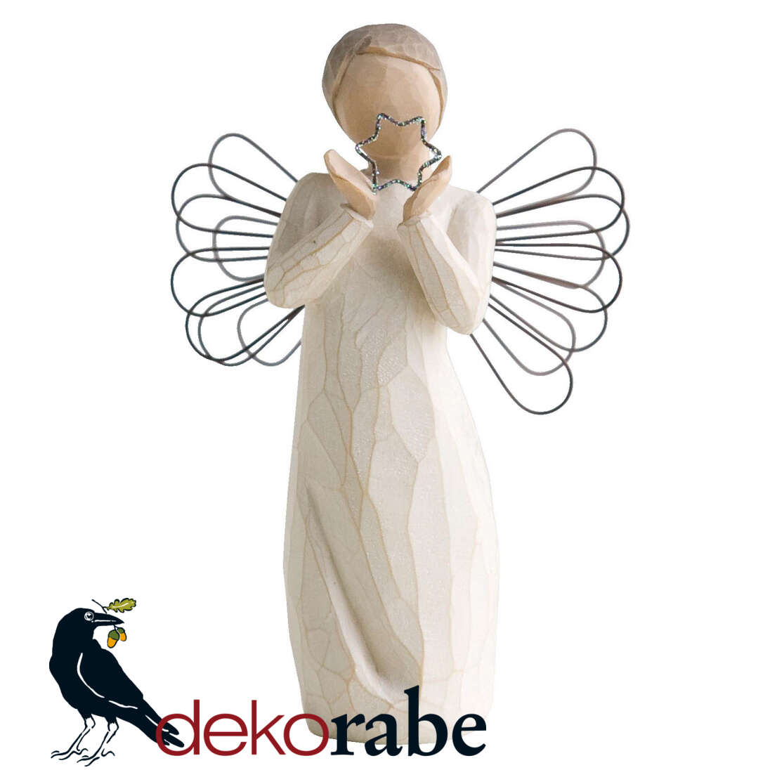 Leuchtender Engel mit Stern Krippefigur