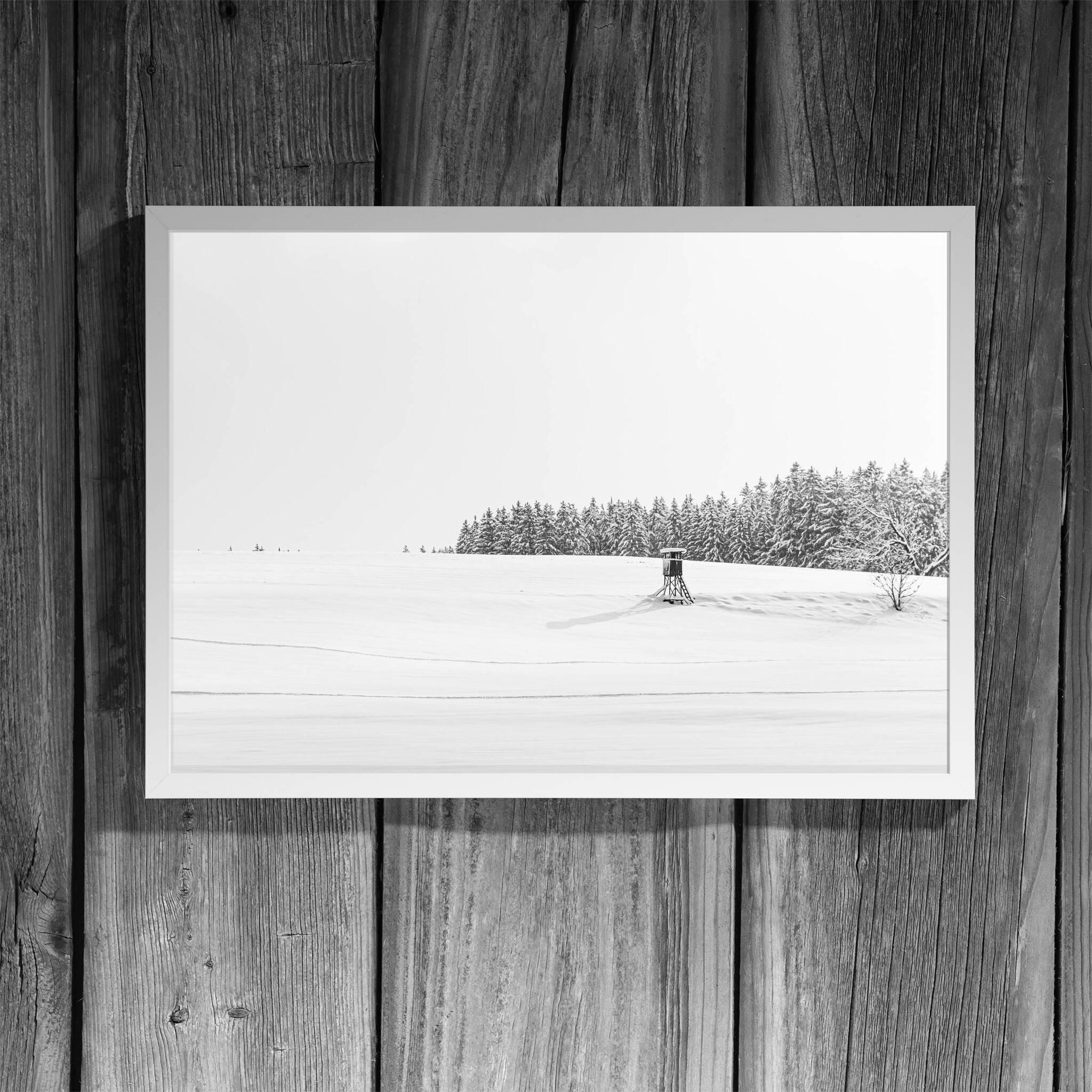 Winterlandschaft mit Ansitz Rahmen 'Riga' A3 ohne Passepartout