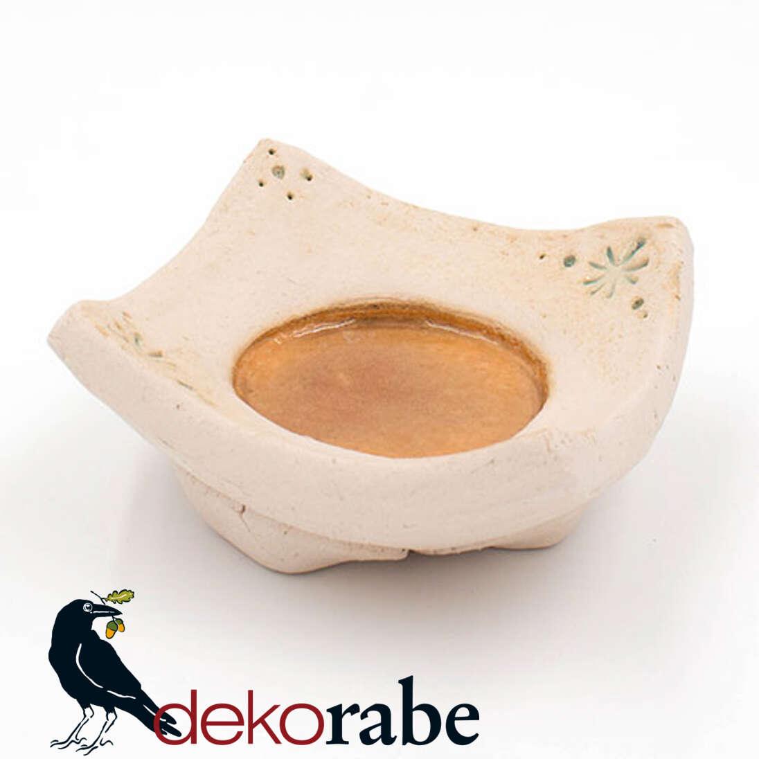 Kerzenuntersetzer Keramik eckig, Sterne, natur-orange
