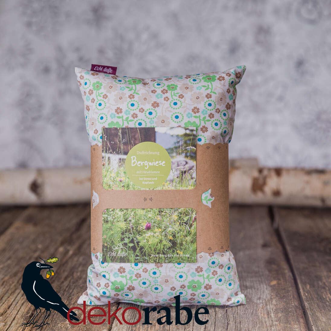 Kissen mit Bergwiesenkräuter grün, geblümt 30 x 20 cm
