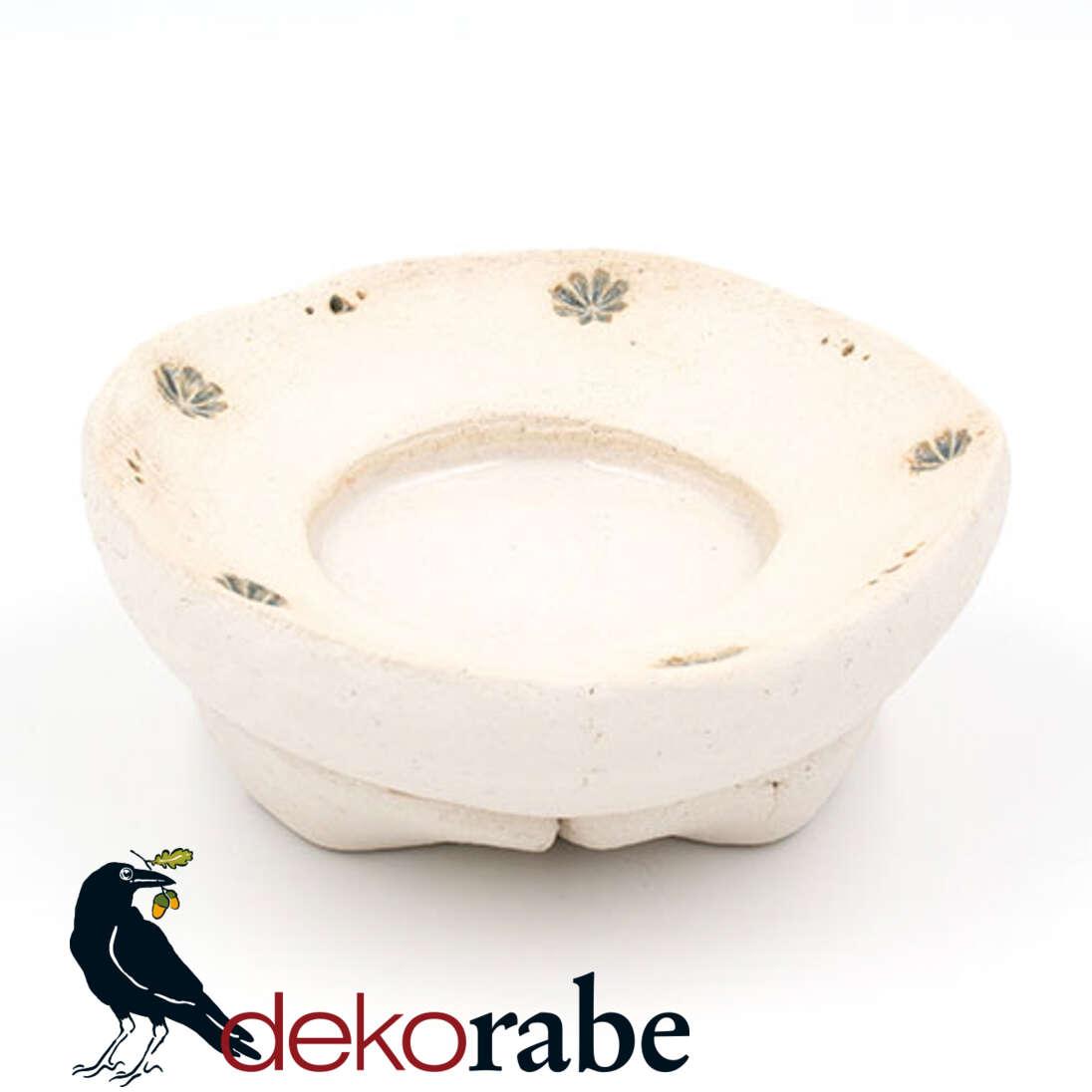 Kerzenuntersetzer Keramik rund, Blume, natur-weiß